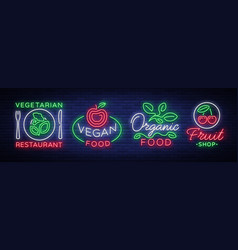 vegan set of logos in a neon style collection of vector image