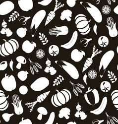 Vegatables and fruits pattern Black and Wihte vector