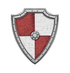 Viking shield colored hand drawn sketch vector