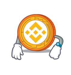 Waiting binance coin mascot catoon vector