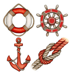 Watercolor red nautical icons buoy anchor helm vector