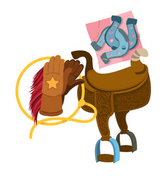 wild west saddle gloves rope and a horseshoe vector image