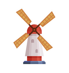 windmill traditional rural building cartoon vector image