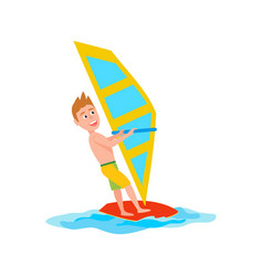 Windsurfing summer sport vector