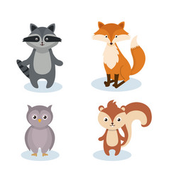 Woodland animals wild icon vector