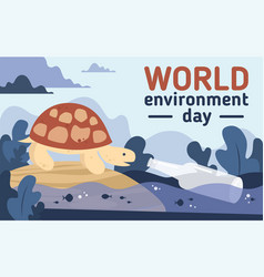 world environment day plastic pollution postcard vector image