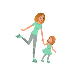 Young mother and her little daughter skating on vector