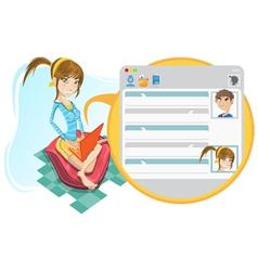 online social media girl chatting vector image vector image