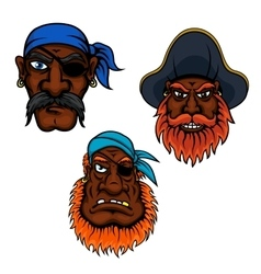 Sailor and captain pirates heads vector image vector image