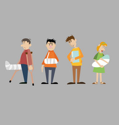 a set of characters visitors to the hospital vector image vector image