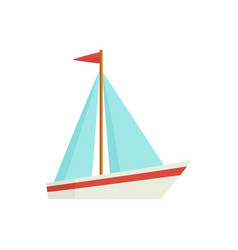 flat cartoon little sailing ship boat sailboat vector image