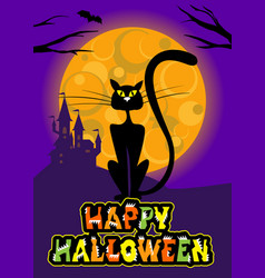 halloween greeting card with cat moon vector image vector image