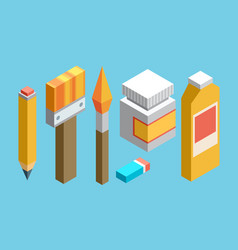 isometric colored flat design icons set of art vector image vector image