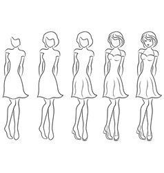 Beautiful women contour in drawing sequence vector image