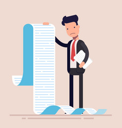 businessman or manager hold a long list or scroll vector image vector image