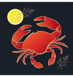 Crab with lemon and dill vector image vector image
