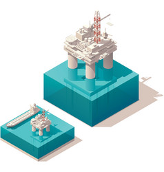 Isometric oil platform vector image vector image