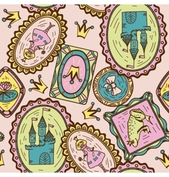 Seamless pattern with princess frog and castle vector image