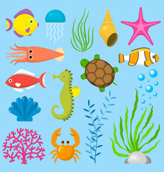 set aquatic funny sea animals underwater creatures vector image
