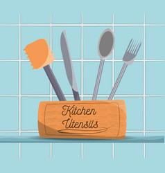 set flat kitchen utensils vector image vector image