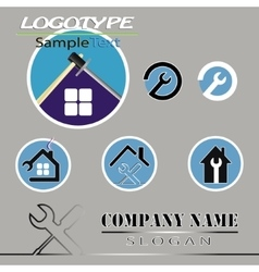Set of various logo of the construction vector