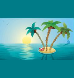 small island landscape sunrise vector image vector image