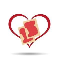 heart cartoon cookkie sweet jam icon design vector image