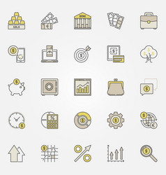 money and investment colorful icons vector image vector image