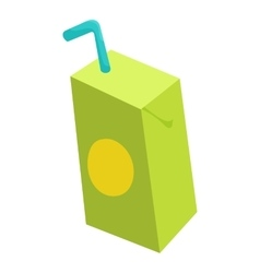 Pack juice with drinking straw icon cartoon style vector image