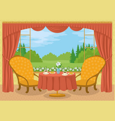 room with view of forest glade vector image vector image