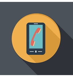 smartphone with the symbol telephone handset vector image