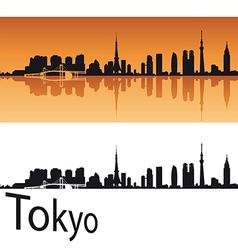 Tokyo skyline in orange background vector image vector image