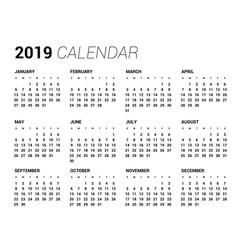 2019 year calendar in clean minimal table simple vector image