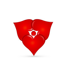 abstract love heart group shape icon vector image