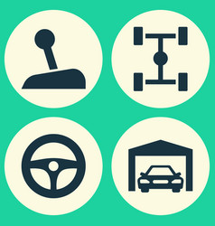 Automobile icons set collection of wheelbase vector