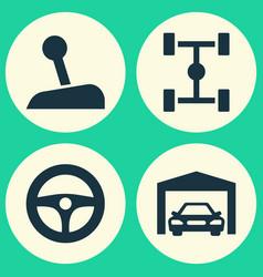 Automobile icons set collection wheelbase vector
