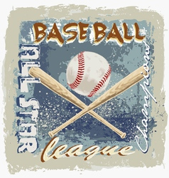 baseball league grunge vector image