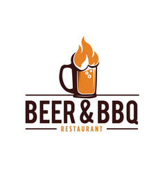 Beer and barbecue logo with fire glass beerb vector