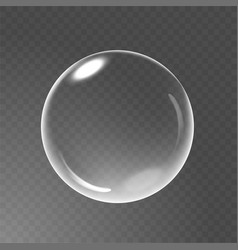 Big transparent glass sphere with glares and vector