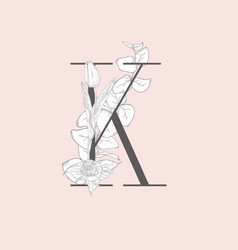 blooming floral elegant k monogram and logo vector image