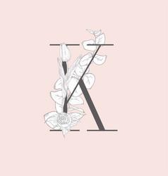 Blooming floral elegant k monogram and logo vector