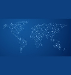 blue global communications world map vector image