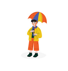boy walking with colorful umbrella kids spring or vector image