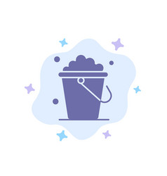Bucket cleaning floor home blue icon on abstract vector