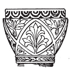 Byzantine capital trapeziform vintage engraving vector