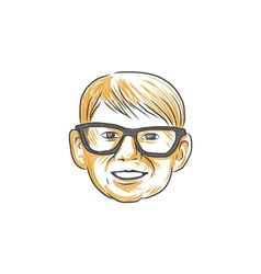 Caucasian Boy Glasses Head Smiling Drawing vector