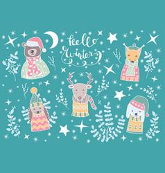 Christmas set festive animals in scandinavian vector