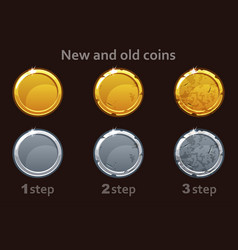 Coin icon gold and silver coins 3 steps vector