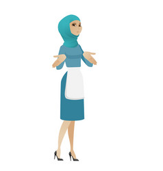 confused young muslim cleaner shrugging shoulders vector image