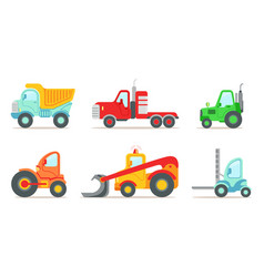 Construction vehicles set truck tractor vector